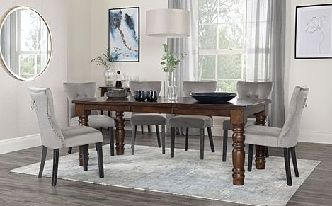 Hampshire Dark Wood Extending Dining Table with 8 Kensington Grey Velvet Chairs