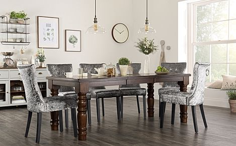 Hampshire Dark Wood Extending Dining Table with 6 Kensington Silver Velvet Chairs