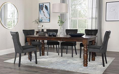 Hampshire Dark Wood Extending Dining Table with 8 Kensington Black Velvet Chairs