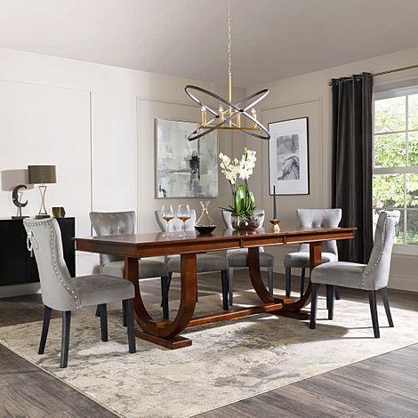 Pavilion Dark Wood Extending Dining Table with 6 Kensington Grey Velvet Chairs