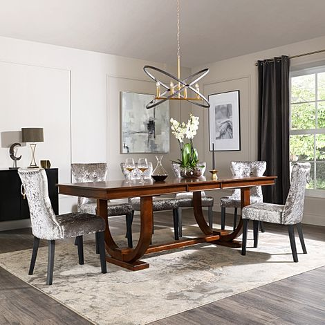Pavilion Dark Wood Extending Dining Table with 6 Kensington Silver Velvet Chairs