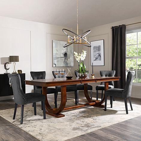 Pavilion Dark Wood Extending Dining Table with 4 Kensington Black Velvet Chairs