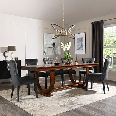 Pavilion Dark Wood Extending Dining Table with 6 Kensington Black Velvet Chairs