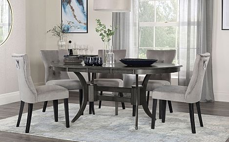 Townhouse Oval Grey Wood Extending Dining Table with 4 Kensington Grey Velvet Chairs (Black Leg)