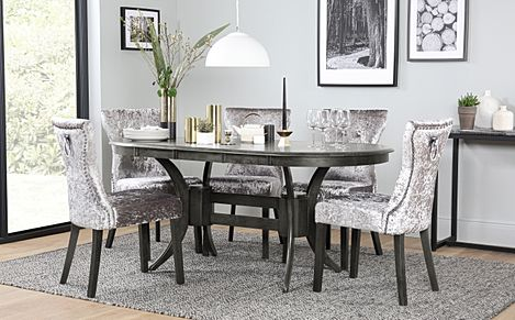 Townhouse Oval Grey Wood Extending Dining Table with 4 Kensington Silver Velvet Chairs (Black Leg)