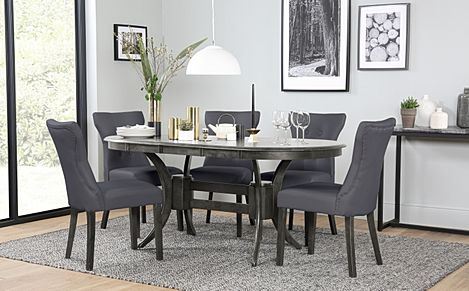 Townhouse Oval Grey Wood Extending Dining Table with 6 Bewley Grey Leather Chairs (Grey Leg)