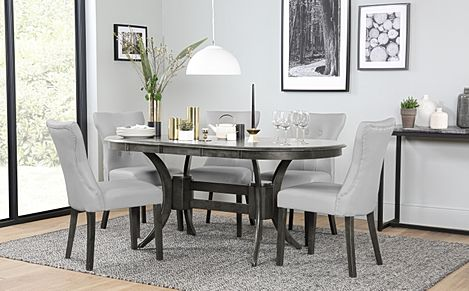 Townhouse Oval Grey Wood Extending Dining Table with 6 Bewley Light Grey Leather Chairs (Grey Leg)
