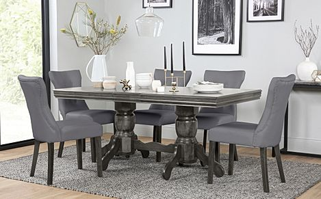 Chatsworth Grey Wood Extending Dining Table with 6 Bewley Grey Leather Chairs (Grey Leg)