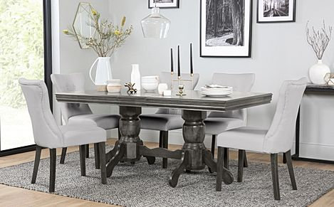 Chatsworth Grey Wood Extending Dining Table with 4 Bewley Light Grey Leather Chairs (Grey Leg)