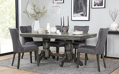 Chatsworth Grey Wood Extending Dining Table with 6 Bewley Slate Fabric Chairs (Grey Leg)