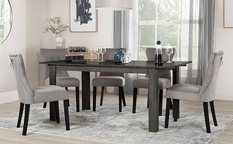 Bali Grey Wood Extending Dining Table with 6 Kensington Grey Velvet Chairs (Black Leg)
