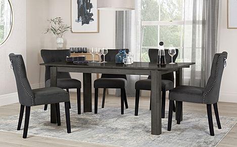 Bali Grey Wood Extending Dining Table with 6 Kensington Black Velvet Chairs (Black Leg)