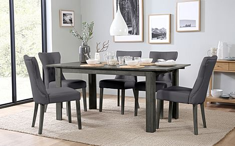 Bali Grey Wood Extending Dining Table with 6 Bewley Grey Leather Chairs (Grey Leg)