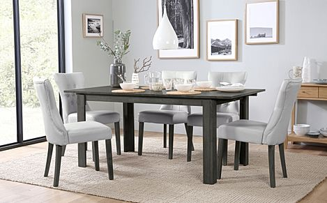Bali Grey Wood Extending Dining Table with 6 Bewley Light Grey Leather Chairs (Grey Leg)