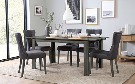 Bali Grey Wood Extending Dining Table with 4 Bewley Slate Fabric Chairs (Grey Leg)