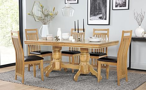 Chatsworth Oak Extending Dining Table with 6 Bali Chairs (Brown Leather Seat Pads)