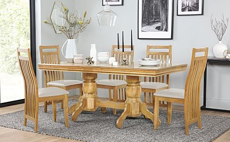 Chatsworth Oak Extending Dining Table with 6 Bali Chairs (Ivory Leather Seat Pads)