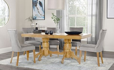 Chatsworth Oak Extending Dining Table with 4 Bewley Grey Velvet Chairs