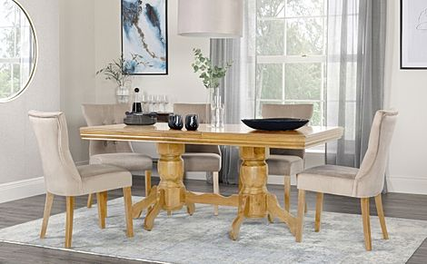 Chatsworth Oak Extending Dining Table with 4 Bewley Mink Velvet Chairs