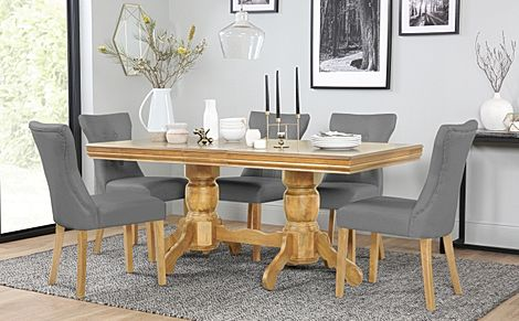 Chatsworth Oak Extending Dining Table with 6 Bewley Grey Leather Chairs