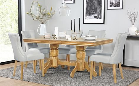 Chatsworth Oak Extending Dining Table with 4 Bewley Light Grey Leather Chairs