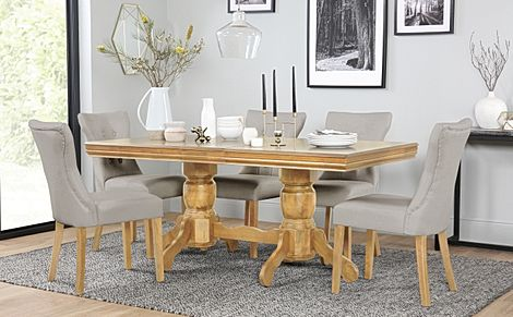 Chatsworth Oak Extending Dining Table with 6 Bewley Stone Grey Leather Chairs