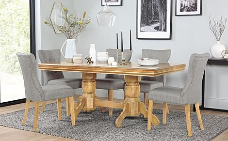 Chatsworth Oak Extending Dining Table with 4 Bewley Light Grey Fabric Chairs
