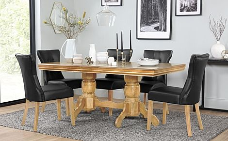 Chatsworth Oak Extending Dining Table with 6 Bewley Black Leather Chairs
