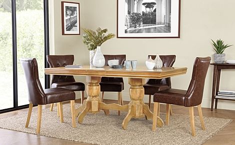 Chatsworth Oak Extending Dining Table with 6 Bewley Club Brown Leather Chairs
