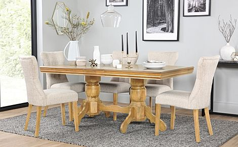 Chatsworth Oak Extending Dining Table with 6 Bewley Oatmeal Fabric Chairs