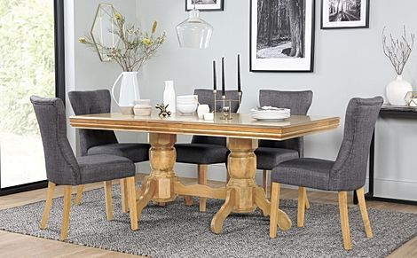 Chatsworth Oak Extending Dining Table with 6 Bewley Slate Fabric Chairs