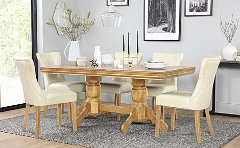 Chatsworth Oak Extending Dining Table with 6 Bewley Ivory Leather Chairs
