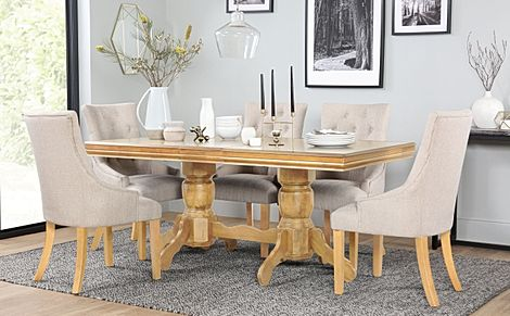 Chatsworth Oak Extending Dining Table with 6 Duke Oatmeal Fabric Chairs