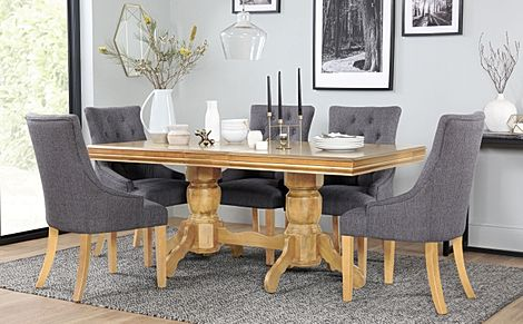 Chatsworth Oak Extending Dining Table with 6 Duke Slate Fabric Chairs