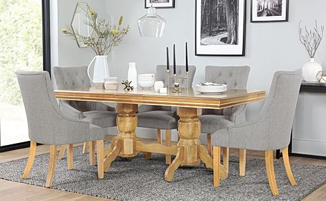 Chatsworth Oak Extending Dining Table with 6 Duke Light Grey Fabric Chairs