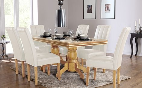 Chatsworth Oak Extending Dining Table with 6 Carrick Ivory Leather Chairs