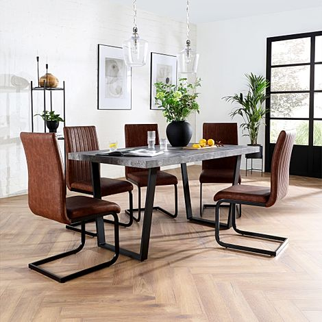 Addison 200cm Concrete Dining Table with 4 Perth Tan Leather Chairs