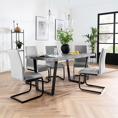 Addison 200cm Concrete Dining Table with 6 Perth Light Grey Leather Chairs (Black Legs)