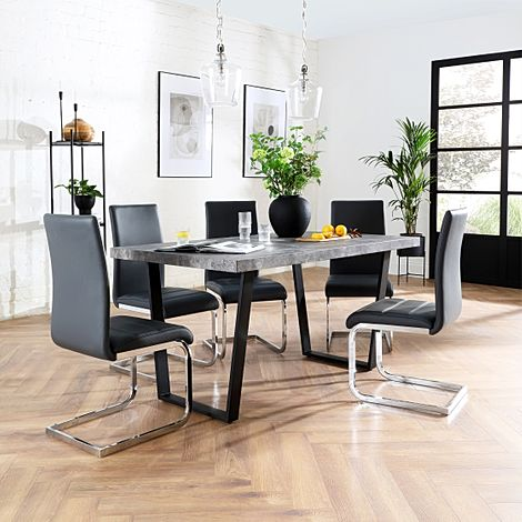 Addison 200cm Concrete Dining Table with 6 Perth Grey Leather Chairs