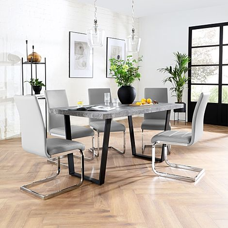 Addison 200cm Concrete Dining Table with 8 Perth Light Grey Leather Chairs