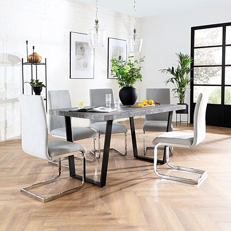 Addison 200cm Concrete Dining Table with 6 Perth Dove Grey Fabric Leather Chairs