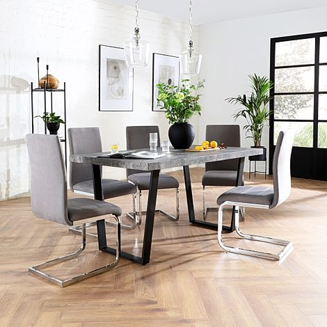 Addison 200cm Concrete Dining Table with 6 Perth Grey Velvet Chairs