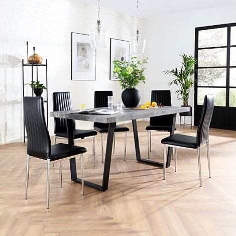 Addison 200cm Concrete Dining Table with 6 Leon Black Leather Chairs