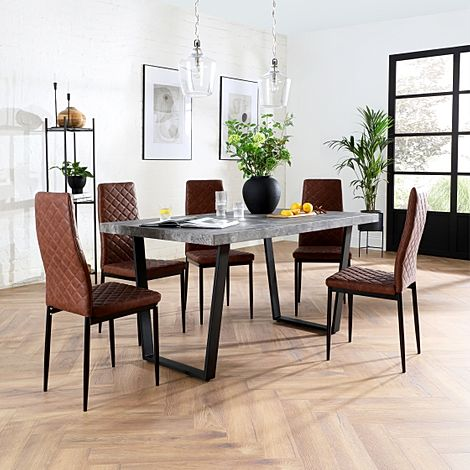 Addison 200cm Concrete Dining Table with 6 Renzo Tan Leather Chairs