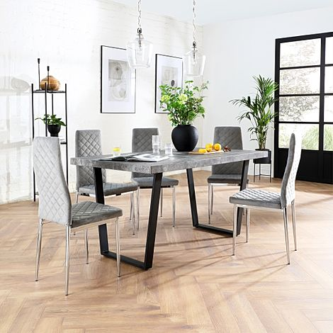 Addison 200cm Concrete Dining Table with 8 Renzo Grey Velvet Chairs