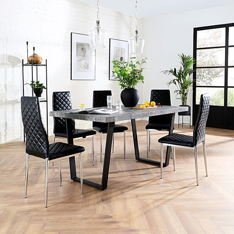 Addison 200cm Concrete Dining Table with 6 Renzo Black Leather Chairs