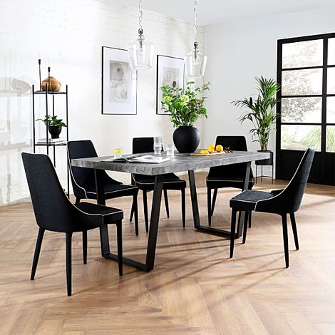 Addison 200cm Concrete Dining Table with 6 Modena Black Fabric Chairs