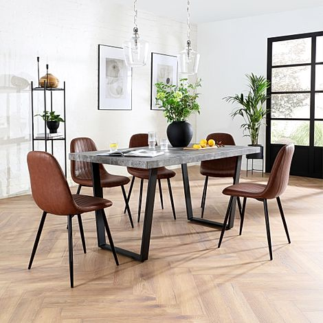 Addison 200cm Concrete Dining Table with 4 Brookyln Tan Leather Chairs