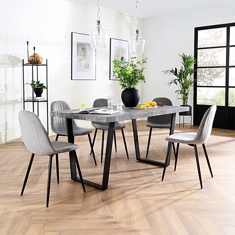 Addison 200cm Concrete Dining Table with 4 Brookyln Grey Velvet Chairs
