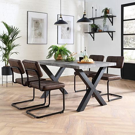 Franklin 200cm Concrete Dining Table with 4 Carter Vintage Brown Leather Chairs